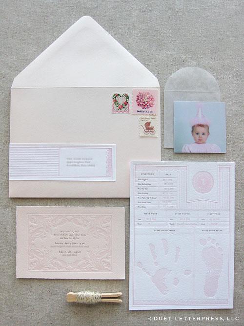 Pink-letterpress-first-birthday-invitations